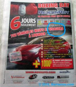 Page couverture arrière Journal La Nouvelle