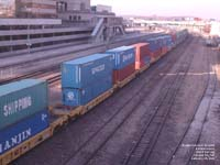 Senator container moving on a BNSF train