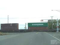 TEX and Evergreen containers on a BNSF double stack car